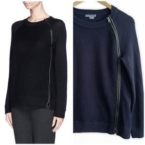 Vince Navy Wool w/Lamb Leather Trim Sweater Small